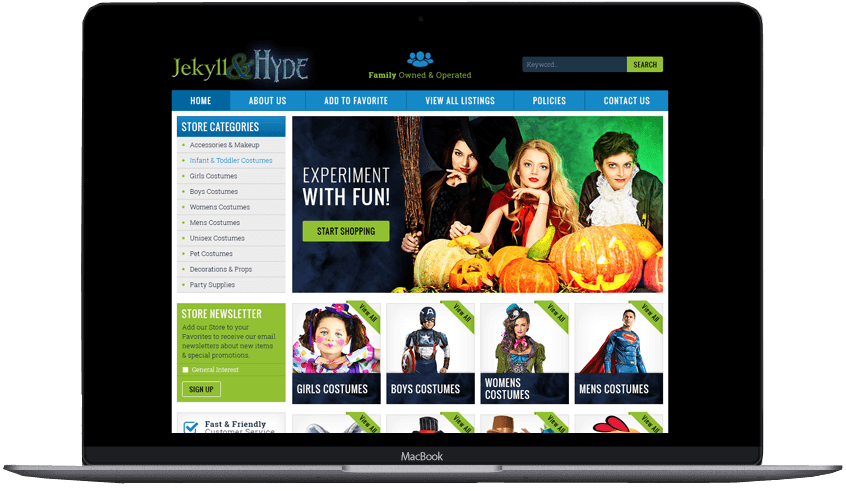 Jekyll Hyde custom ebay store front and template