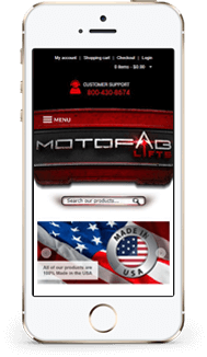 Motofab Lifts custom volusion store design mobile