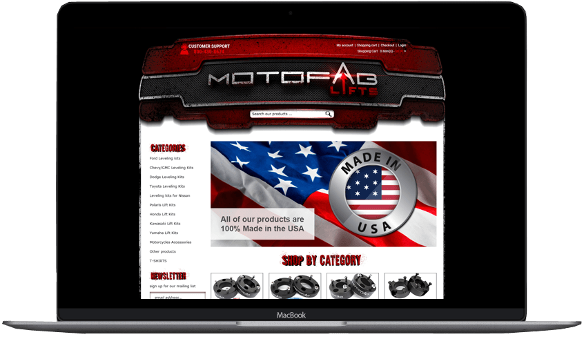 Motofab Lifts custom volusion store design