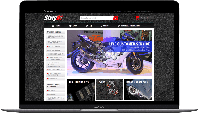 Sixty 61 custom volusion store design