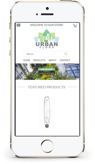 Urban Flora custom volusion theme design mobile