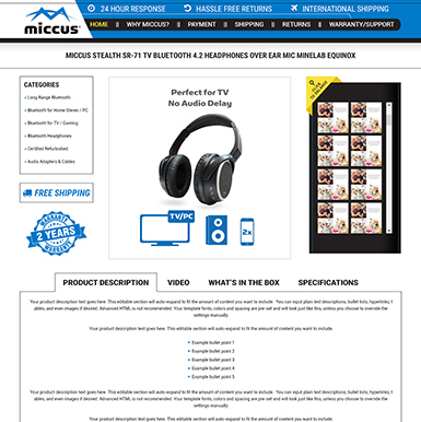 Miccus eBay listing template design