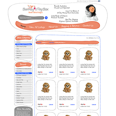 Barney's Toy Box ebay category page design