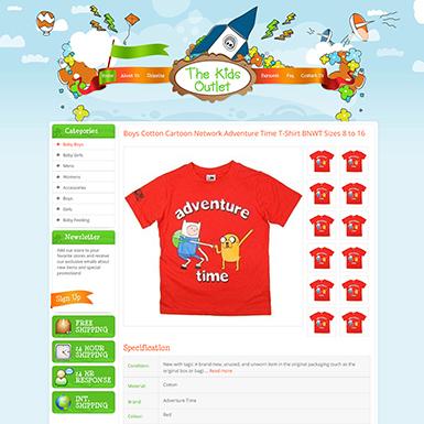 The Kids Outlet ebay listing template design