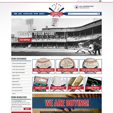 Showpieces Sports ebay store design