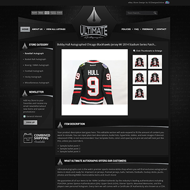 Ultimate Autographs ebay listing template design